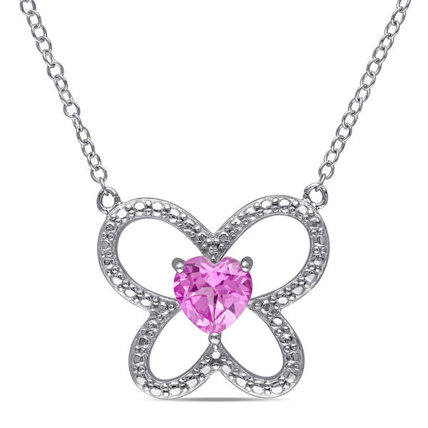 Miadora Sterling Silver Created Pink Sapphire Butterfly Heart Necklace