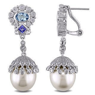 Miadora Signature Collection 14k White Gold South Sea Pearl Aquamarine, Tanzanite and 1/2ct TDW Diamond Earrings (G-H, SI