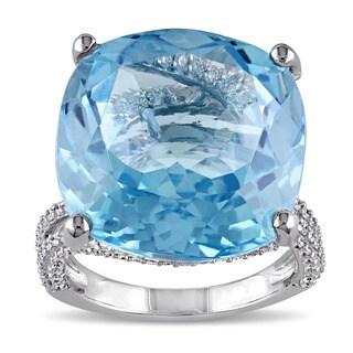 Miadora 14k White Gold Blue Topaz 1 1/6ct TDW Diamond Cocktail Ring (G-H, SI1-SI2)
