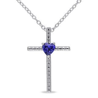 Miadora Sterling Silver Created Blue Sapphire Heart Cross Necklace