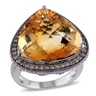 Miadora 14k White Gold Citrine and 1 1/4ct TDW Brown and White Diamond Cocktail Ring (G-H, SI1-SI2)