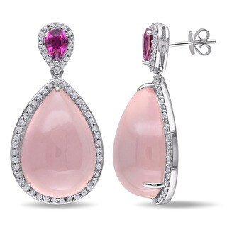 Miadora 14k White Gold 53 1/2ct TGW Rose Quartz, Pink Tourmaline and White Sapphire Dangle Drop Earrings