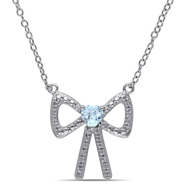 Miadora Sterling Silver Heart-cut Sky Blue Topaz Bow Necklace