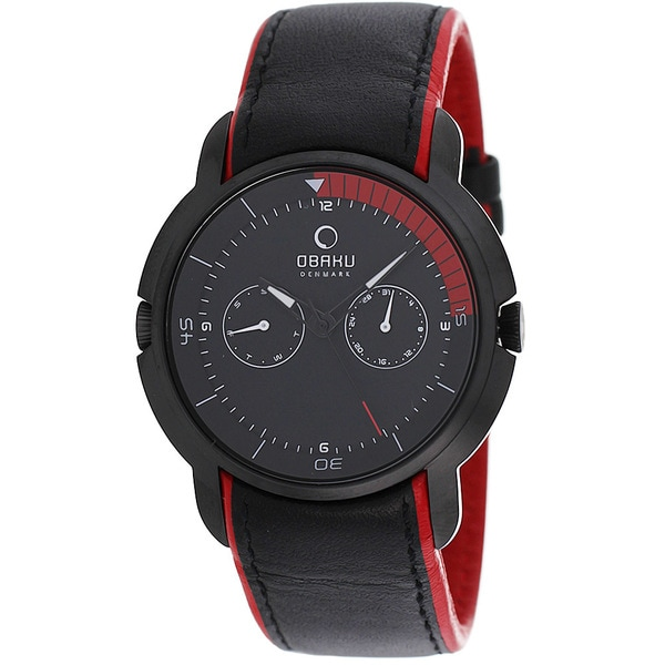 Obaku Men's V141GBBRB Harmony Round Black Strap Watch
