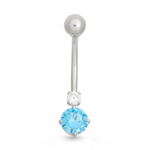 Gioelli 10k White Gold Round Blue Cubic Zirconia Belly Ring