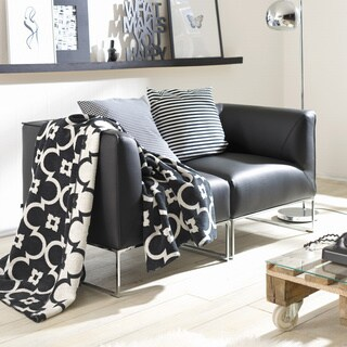 Sorrento Black/ White Lattice Jacquard Oversized Throw Blanket