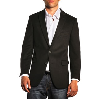 Jean Paul Germain Men's Eldon Black Cashmere Blend Trim Fit Sportcoat