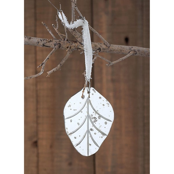 4-inch Small Etched Mirror Leaf Ornament (Pack of 10)