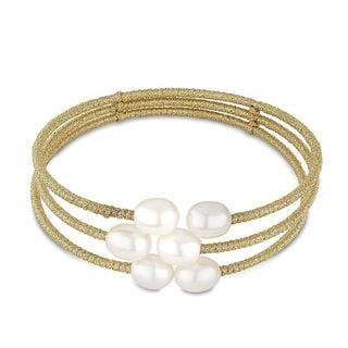 Gold over Silver Freshwater Pearl 3-strand Necklace (7.5-8mm)