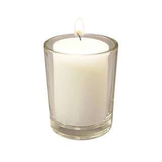 12 Clear Glass Candle Holders with 15 Hour Votive Candles (36 Count)
