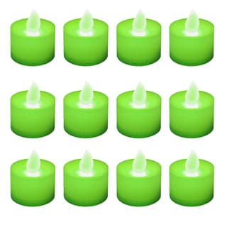 LED Battery Operated Tea Light Green Candles (Pack of 12)