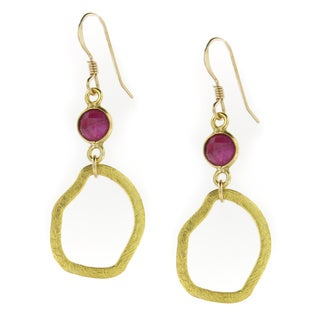 Handmade Vermeil Earrings with Ruby Gemstone on Gold-Filled Earwire (USA)