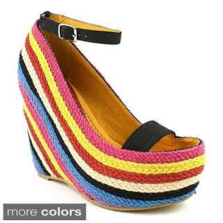 Fahrenheit Women's Fargo-01 Colorful Knit Peep-toe Wedges