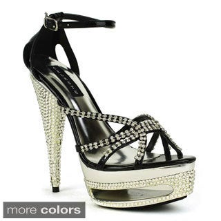 Fahrenheit Celeste Women's Freida-01 Embellished Rhinestones High Heels