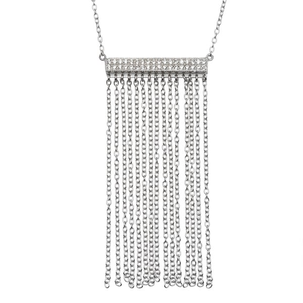 La Preciosa Sterling Silver Micropave CZ Double-row Bar and Tassel Necklace