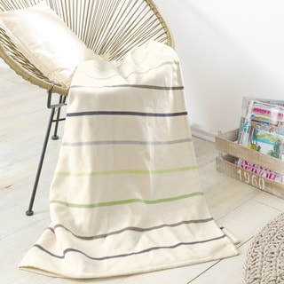 Ibena 'Spring Stripes' 100-percent Cotton Jacquard Oversized Throw Blanket