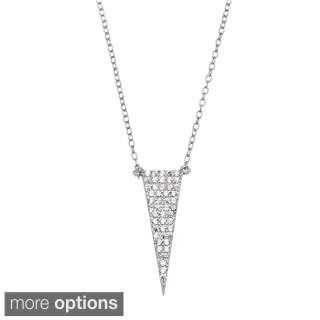 La Preciosa Sterling Silver Micropave CZ Triangle Necklace