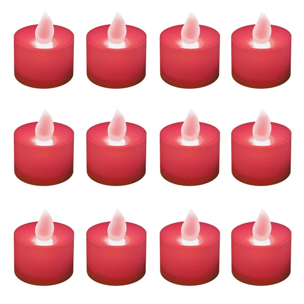 Battery Operated Red LED Tea Light Candles (12-pack)