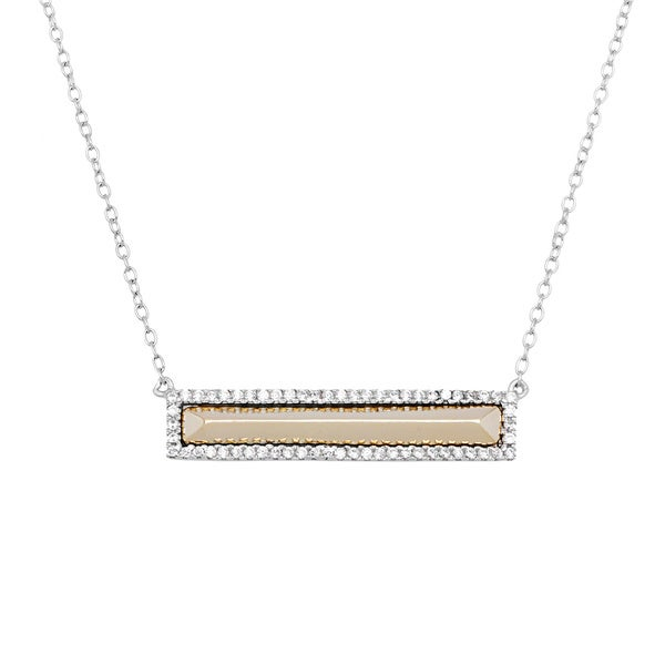 La Preciosa Micropave CZ and Gold-plated Bar Necklace