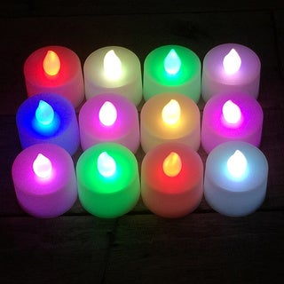 Battery Operated Color Changing LED Tea Light Candles (12-pack)