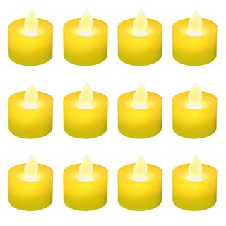 Battery Operated Amber LED Tea Light Candles (12-pack)