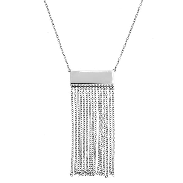 La Preciosa Sterling Silver Bar with Tassels Necklace