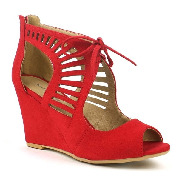 Mark and Maddux Women's Elisha-05 Laser-cut Cut-out Lace-up Wedge Sandals