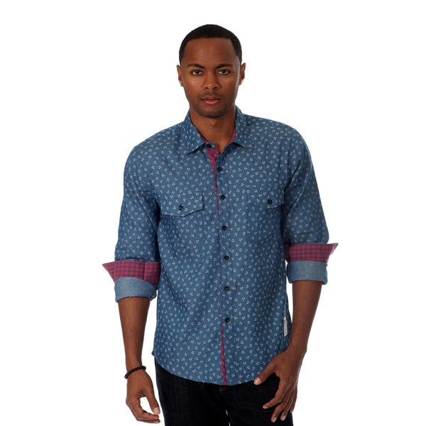 Something Strong Men's Novelty Print Shirt in Blue