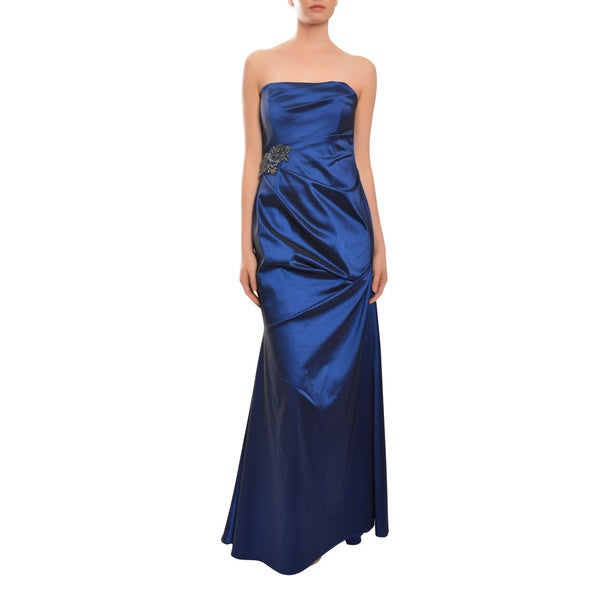 David Meister Blue Ruched Cascading Strapless Evening Dress