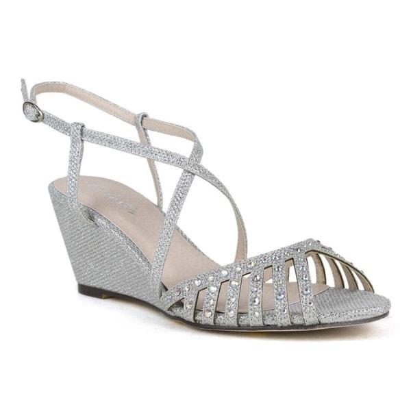 Celeste Women's Cathy-01 Medium Heel Shining T-Strap Wedge Sandal