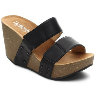Refresh Women's MARA-07 Slide On Two Band Platform Wedges