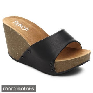 Refresh Women's MARA-03 Slide On Single Band Platform Wedges