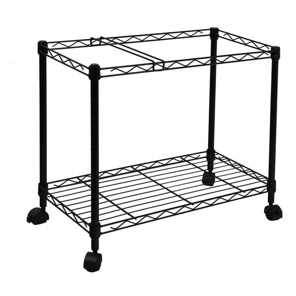 Oceanstar Portable 1-tier Black Metal Rolling File Cart