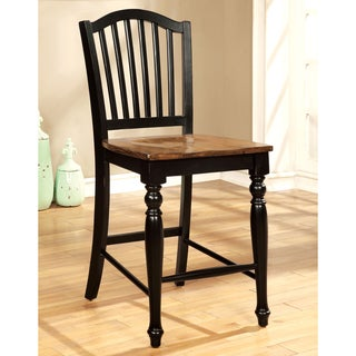 Furniture of America Levole 2-Tone Country Style Counter Height Dining Chair (Set of 2)