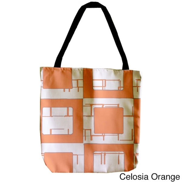 Geometric Abstract Check Orange and White 18-inch Tote Bag
