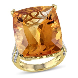 Miadora 14k Yellow Gold Citrine and 1/2ct TDW Diamond Cocktail Ring (G-H, SI1-SI2)