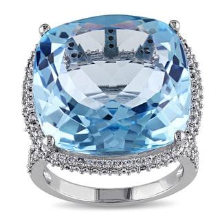 Miadora 14k White Gold Blue Topaz 1ct TDW Diamond Cocktail Ring (G-H, SI1-SI2)