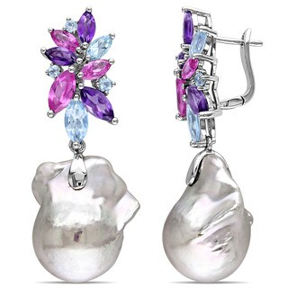 Miadora Sterling Silver Cultured Freshwater Pearl, Amethyst-Africa, Blue Topaz and Created Pink Sapphire Earrings