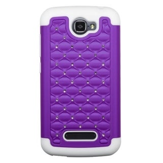 INSTEN Dual Layer Hybrid Rubberized Hard PC/ Soft Silicone Phone Case Cover With Diamond For Alcatel One Touch Fierce 2 7040T