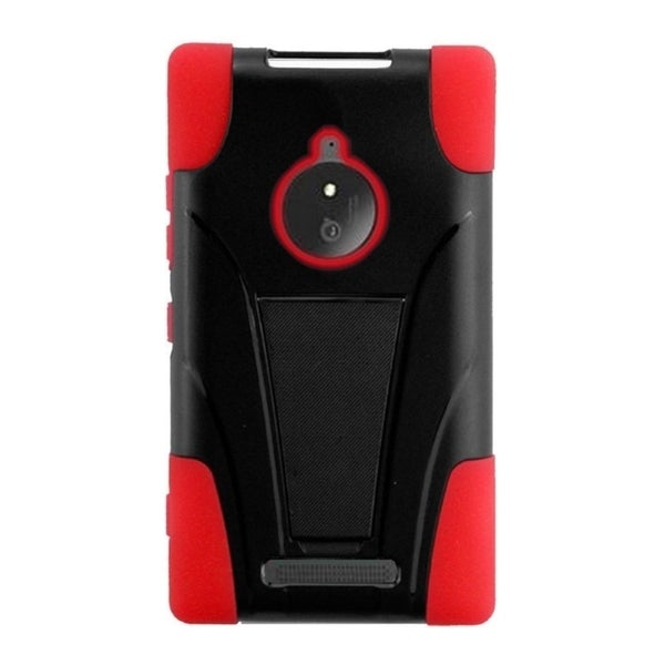 INSTEN Black/ Red Dual Layer Hybrid PC/ Soft Silicone Phone Case With Stand For Nokia Lumia 830