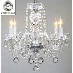 "Murano Venetian Style All Crystal Chandelier H17"" x W17"" SWAG PLUG IN-CHANDEL..."
