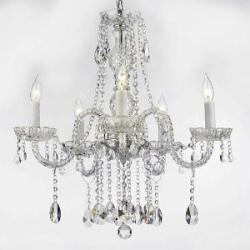 "AUTHENTIC ALL CRYSTAL CHANDELIERS LIGHTING CHANDELIERS H27"" X W24"" SWAG PLUG ..."