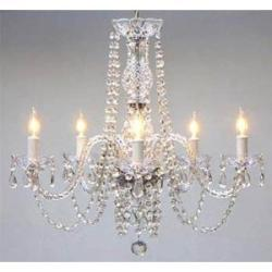 "New! AUTHENTIC ALL CRYSTAL CHANDELIERS H25"" X W24"" SWAG PLUG IN-CHANDELIER W/..."