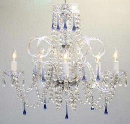 BLUE CRYSTAL CHANDELIER CHANDELIERS LIGHTING! NO RESERVE!