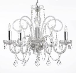 "Empress Crystal (tm) Chandelier Chandeliers Lighting H25"" X W24"" with Chrome ..."