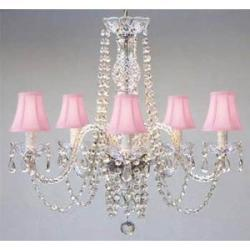 New! Authentic All Crystal Chandelier Lighting Chandeliers with Pink Shades! ...