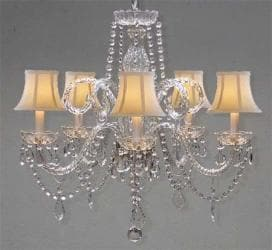 "CRYSTAL CHANDELIER CHANDELIERS LIGHTING WITH WHITE SHADES H 25"" X W 24"" SWAG ..."