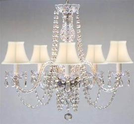 New! AUTHENTIC ALL CRYSTAL CHANDELIER WITH SHADES! SWAG PLUG IN-CHANDELIER W/...