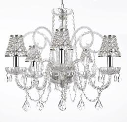 Empress Crystal (tm) Chandelier Chandeliers Lighting with Chrome Sleeves and ...