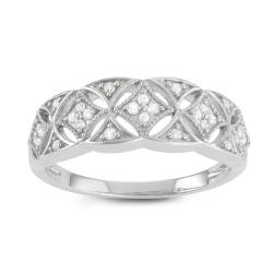 Journee Collection Sterling Silver 1/3 CT TDW Diamond Round Cut Pave Ring